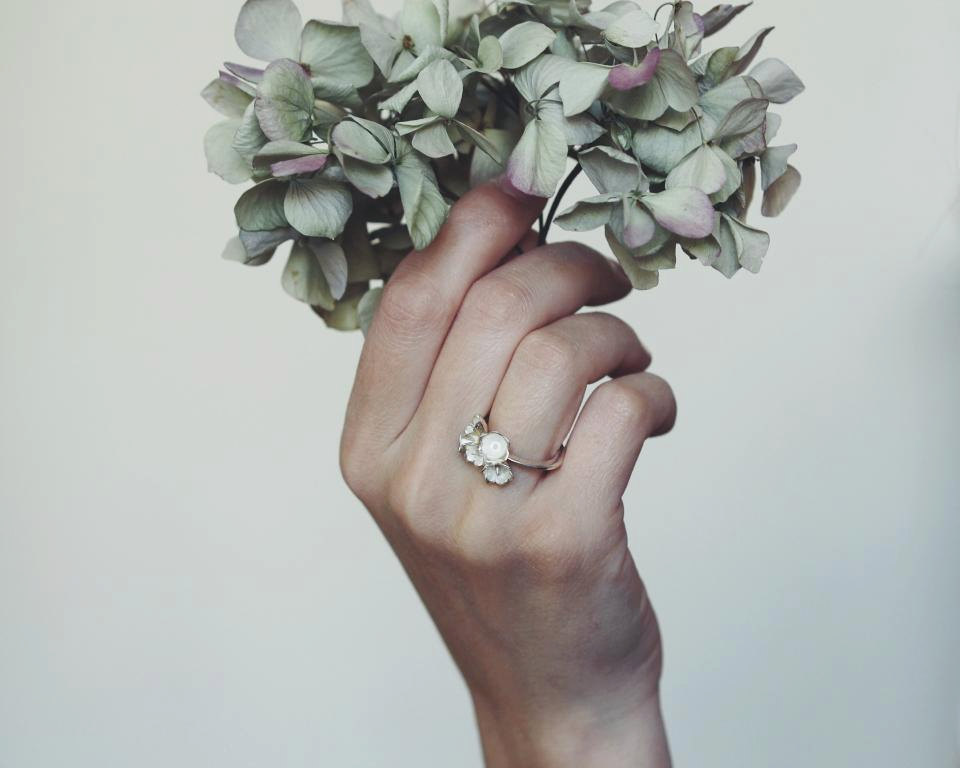 02 Lily of the valley flowers ring in sterling silver