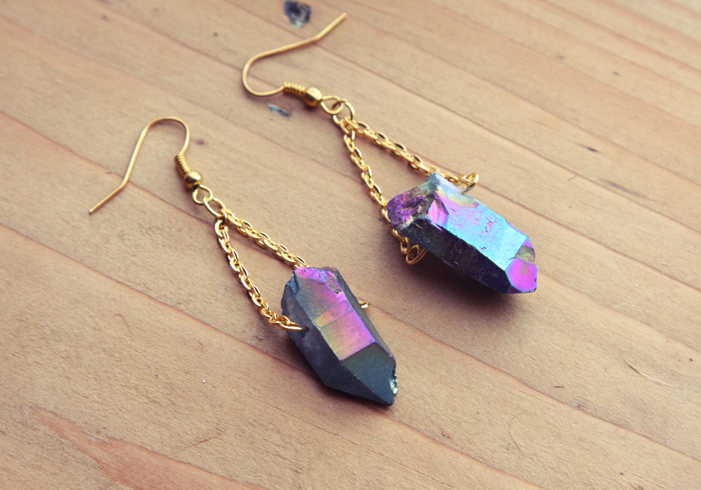 02 Rough Rainbow Aura Quartz Point Crystal Earrings