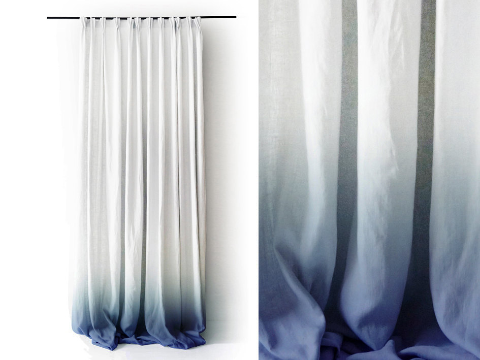 02 White Linen curtain Ombre Blue