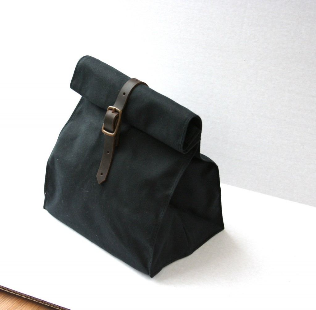 04 Black Waxed Canvas Lunch Bag