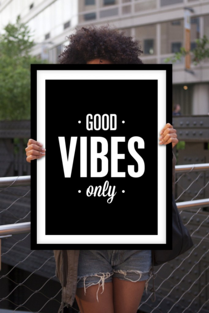 1 Inspirational Print Typography Poster Good Vibes Only