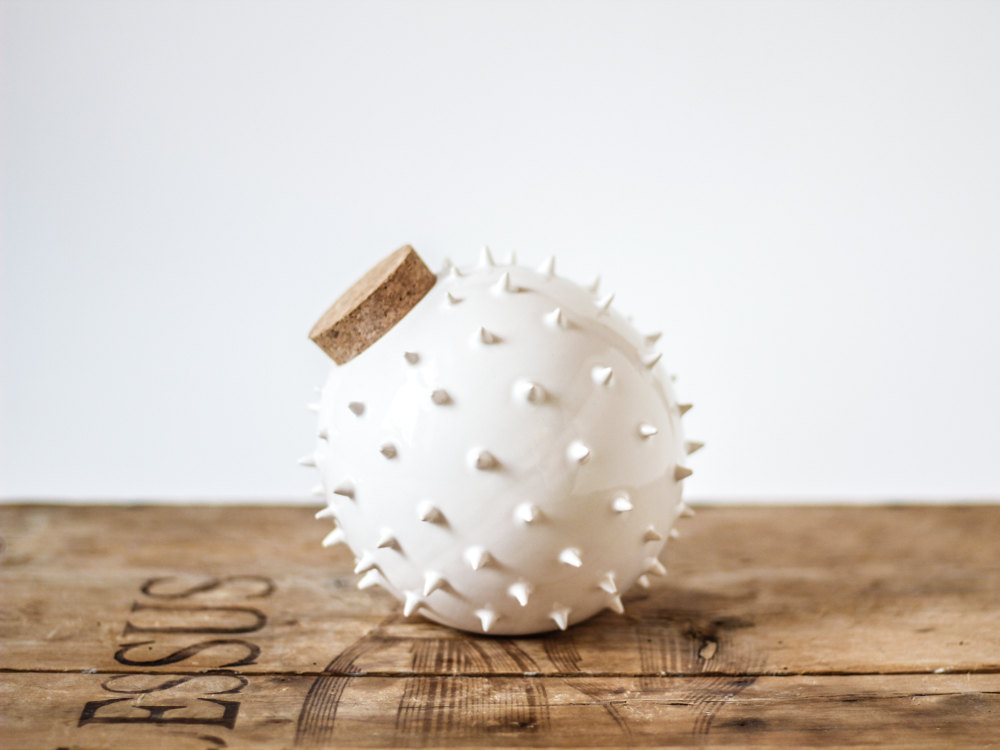 01 Modern designed spiky ceramic jar inspired by Blowfish