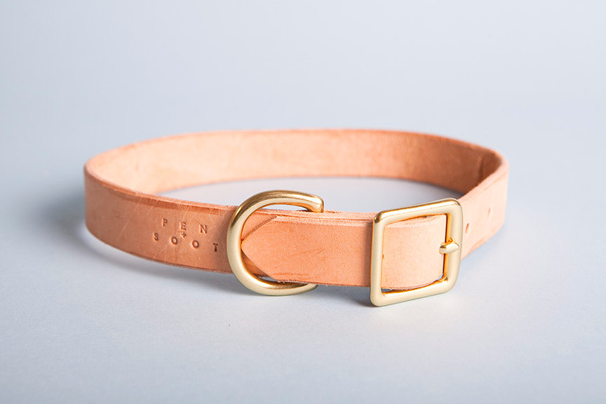 03 Natural leather dog collar