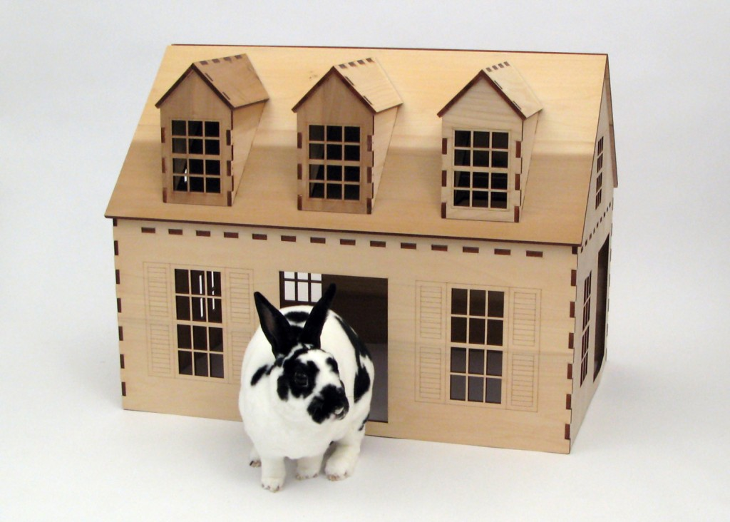 05 Cape Cod style wooden playhouse for rabbits