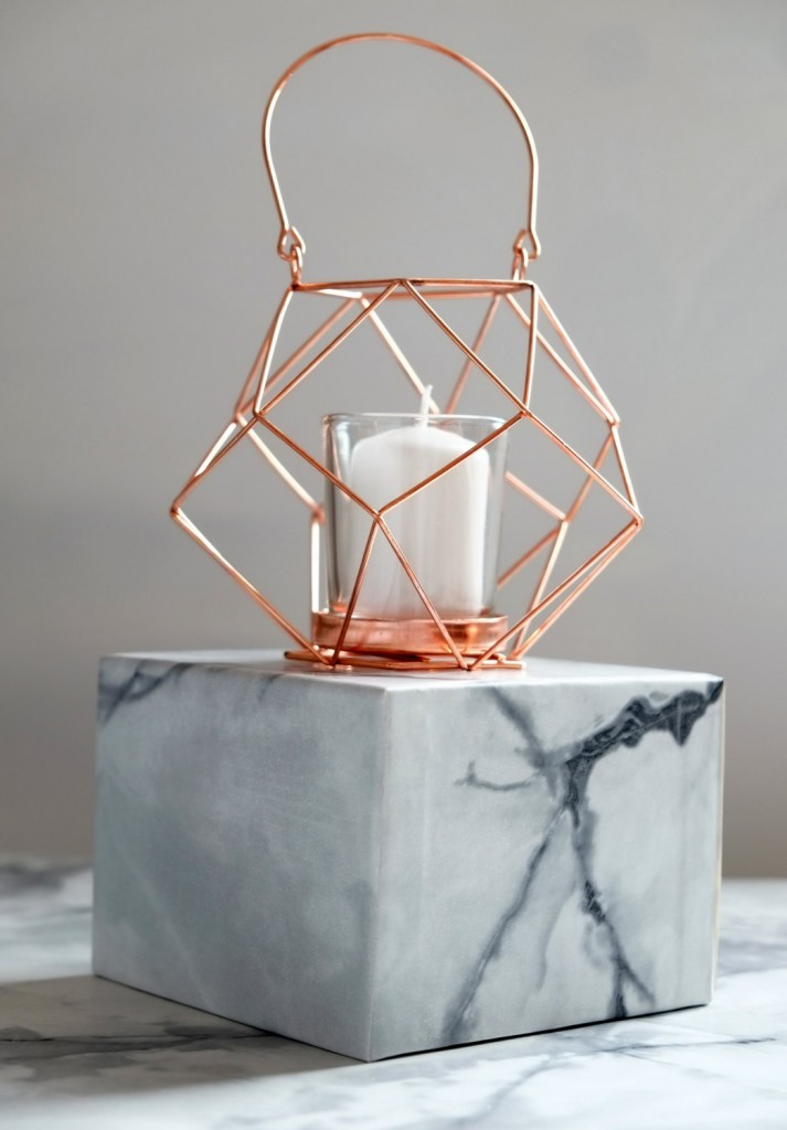 05 Copper Geometric Wire Candle Holder