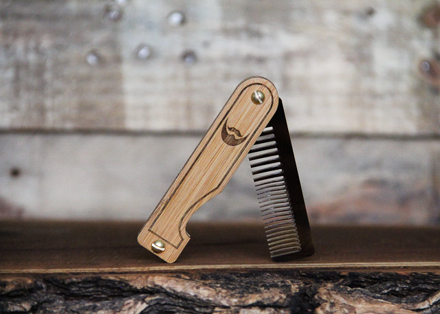 05 Personalized Handmade Folding Wood Beard Comb