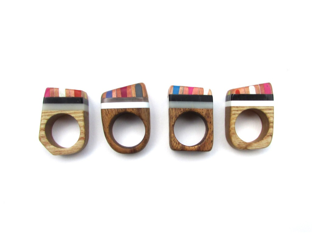 3 Chunky wooden Pencil Rings