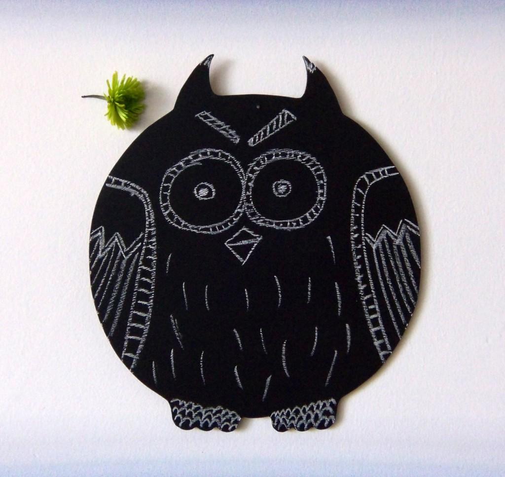 4 Large Chalkboard Owl Shaped Decorative Blackboard