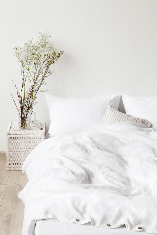 4 White Stone Washed Linen Duvet Cover