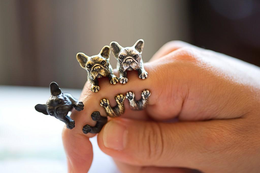 4 YaciKopo handmade French bulldog ring