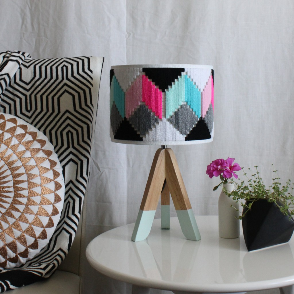 1 Colourful hand woven round Lampshade