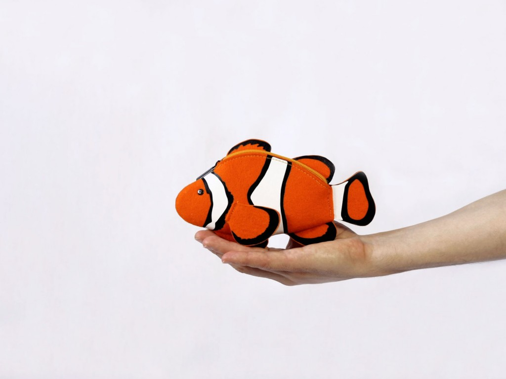 2 Clown Fish Felt Purse