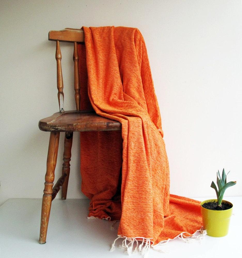 2 Cotton & Velvet Handwoven Orange Soft Warm Blanket