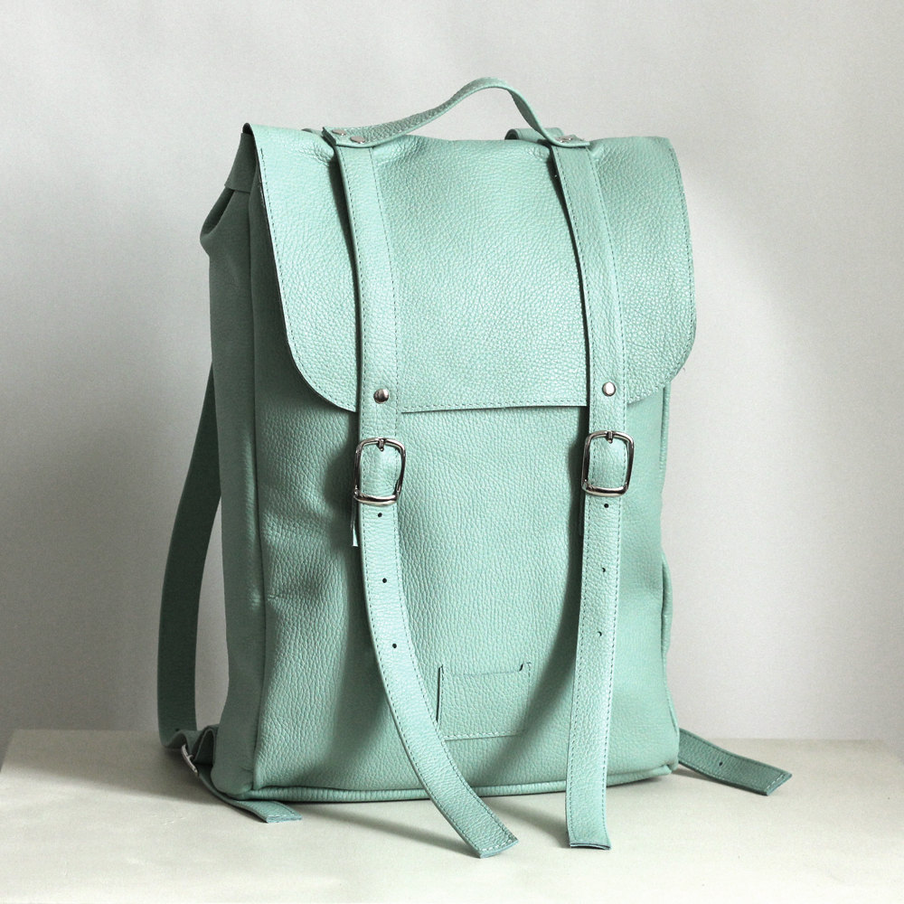 3 Mint middle size leather backpack rucksack