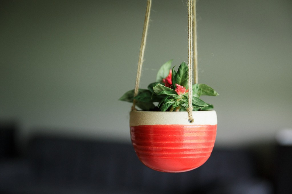 4 Ceramic Hanging Planter