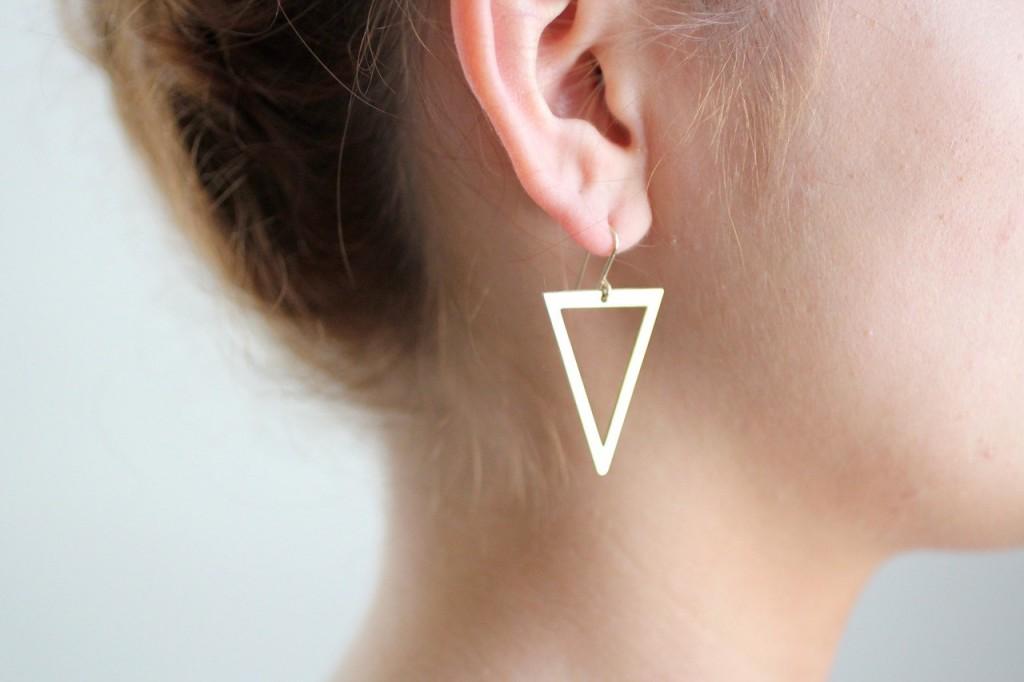 5 Minimalist Geometric Gold Triangle Cutout Earrings
