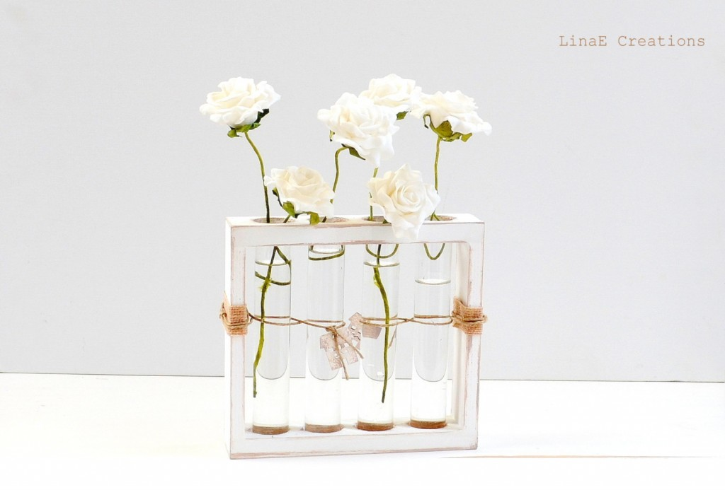 5 Shabby chic wooden bud vase with test tubes