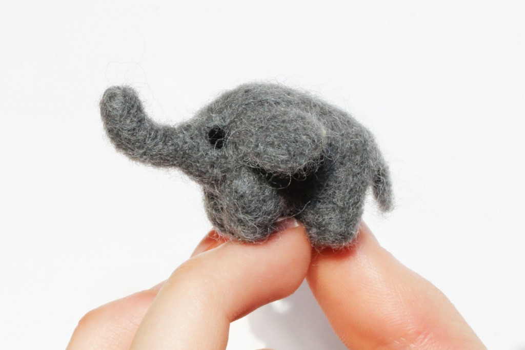 1 Needle felted grey elephant