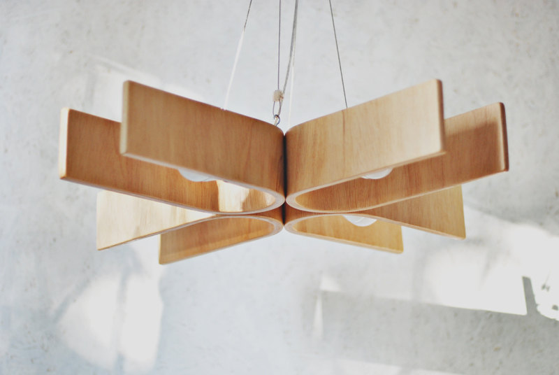 5 Hanging lamp with natural wood texture