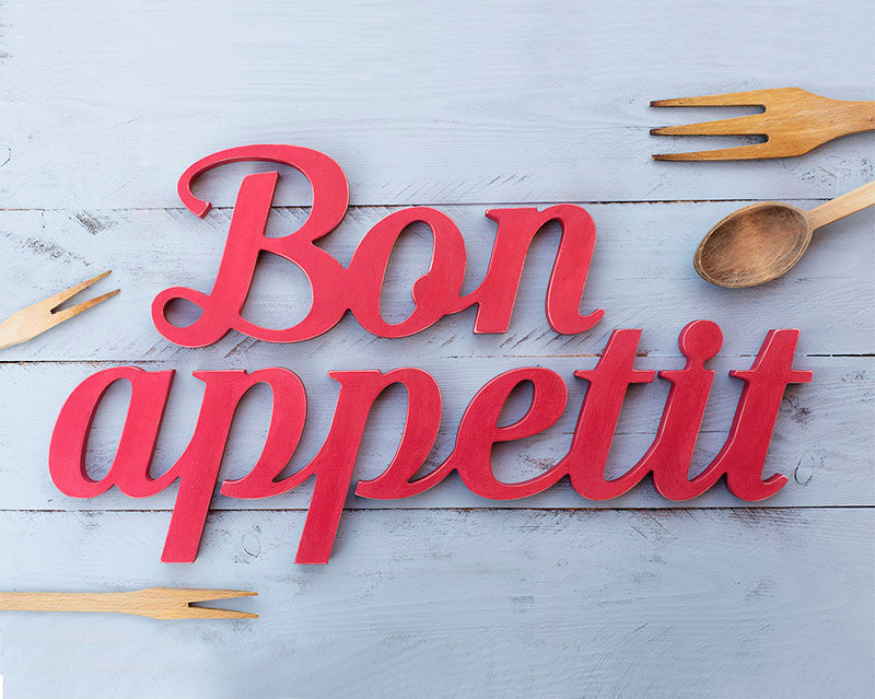 5 Bon appetit distressed wooden sign