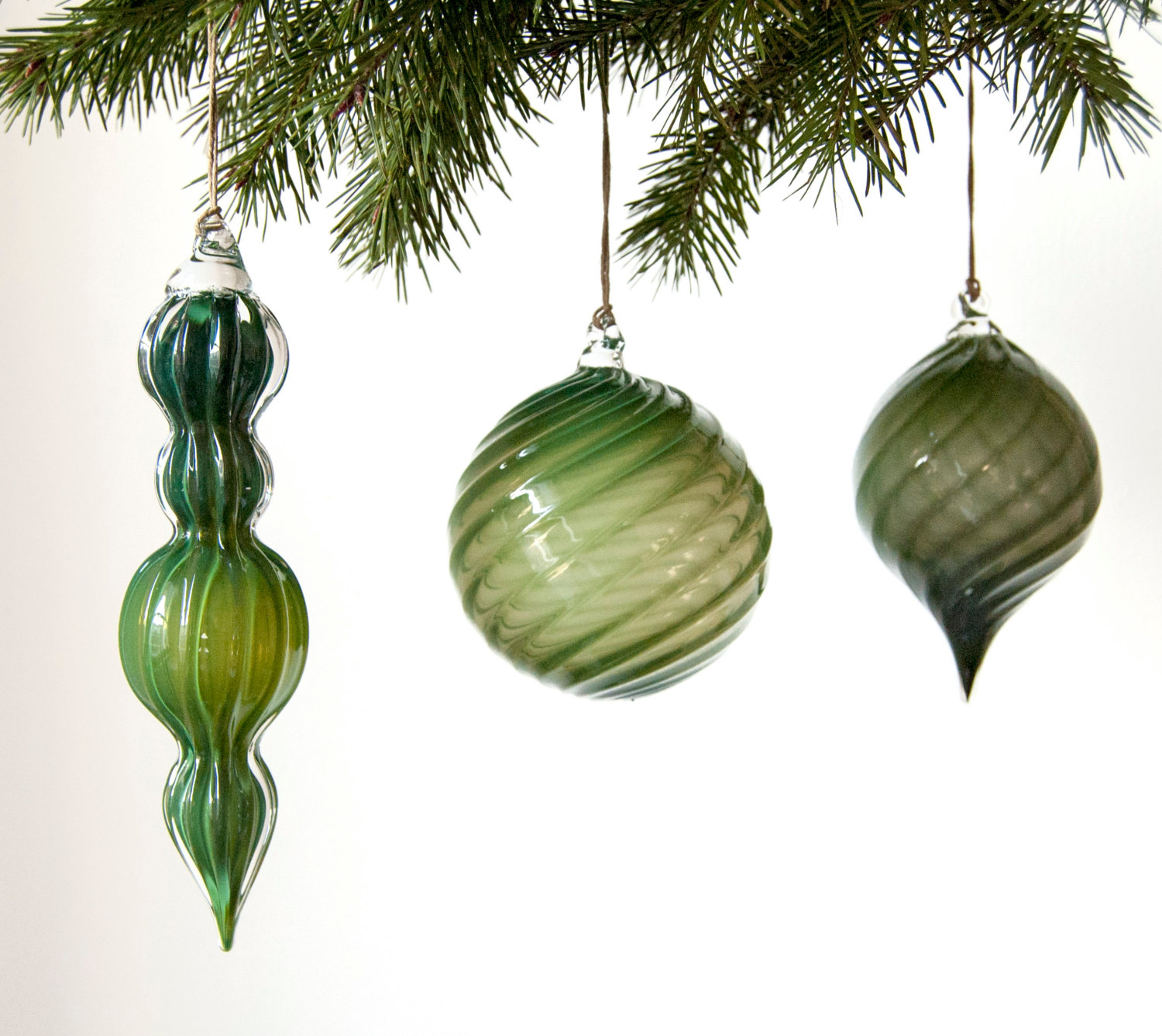 Handmade glass christmas ornaments - 2 Set Of Dark Green Holiday Oranaments