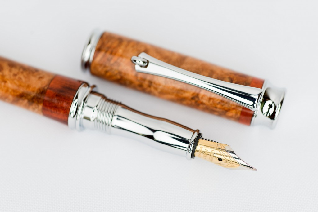 4 Exotic Maple Burl and Bloodwood Segmented Fountain Pen