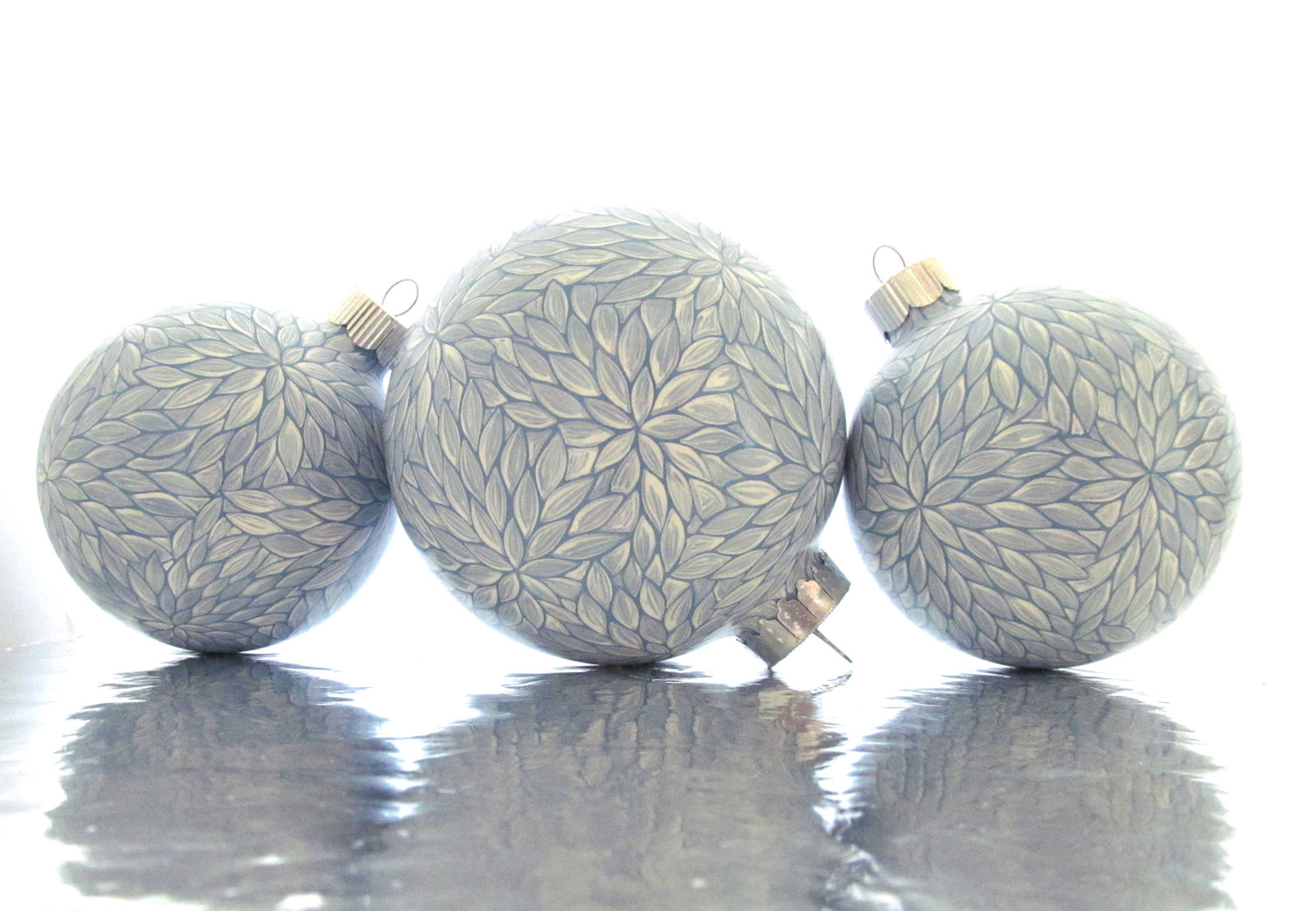 Handmade glass christmas ornaments - 4 Set Of 3 Blue And White Painted Glass Ornament