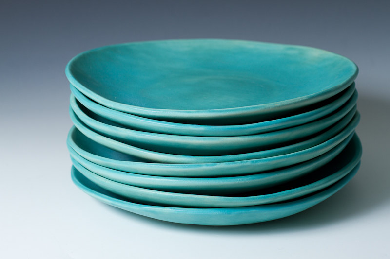 1 9 Matte Turquoise Stoneware Plates