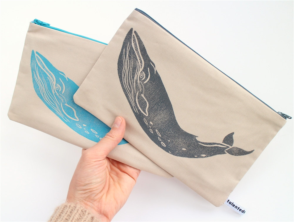 3 Grey or Turquoise Whale Purse
