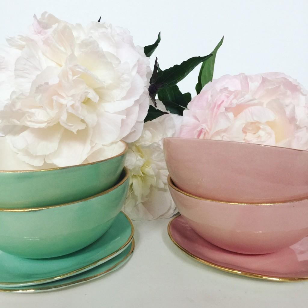 1 Pink Porcelain bowl with 22k Gold edge