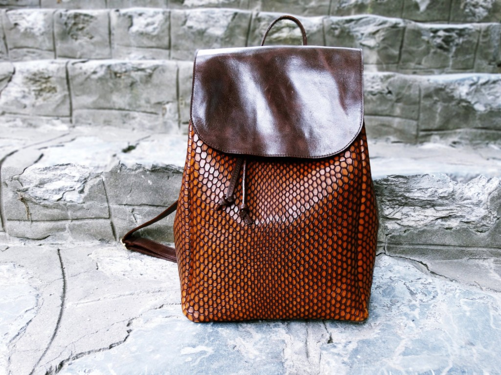 3 Brown Leather Backpack
