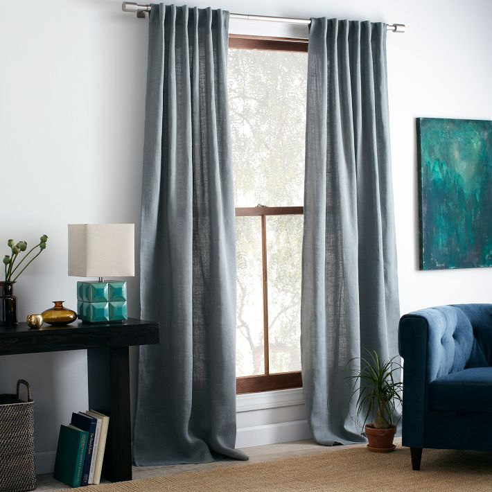 2 Blue Burlap Curtain for the living room