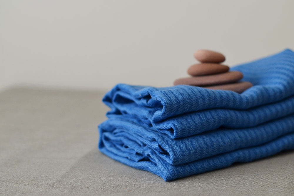 4 Blue Linen Towels