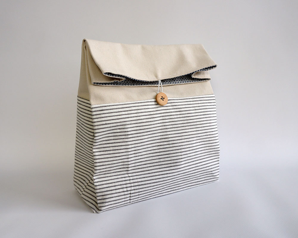 4 Striped natural colored Lunch Bag