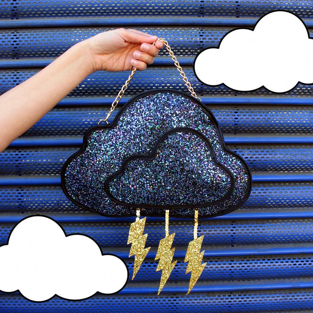 1 Glitter Storm Cloud Clutch Handbag