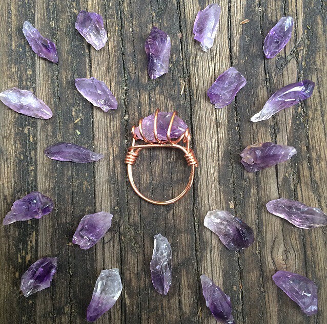 2 Amplified Raw Amethyst Ring