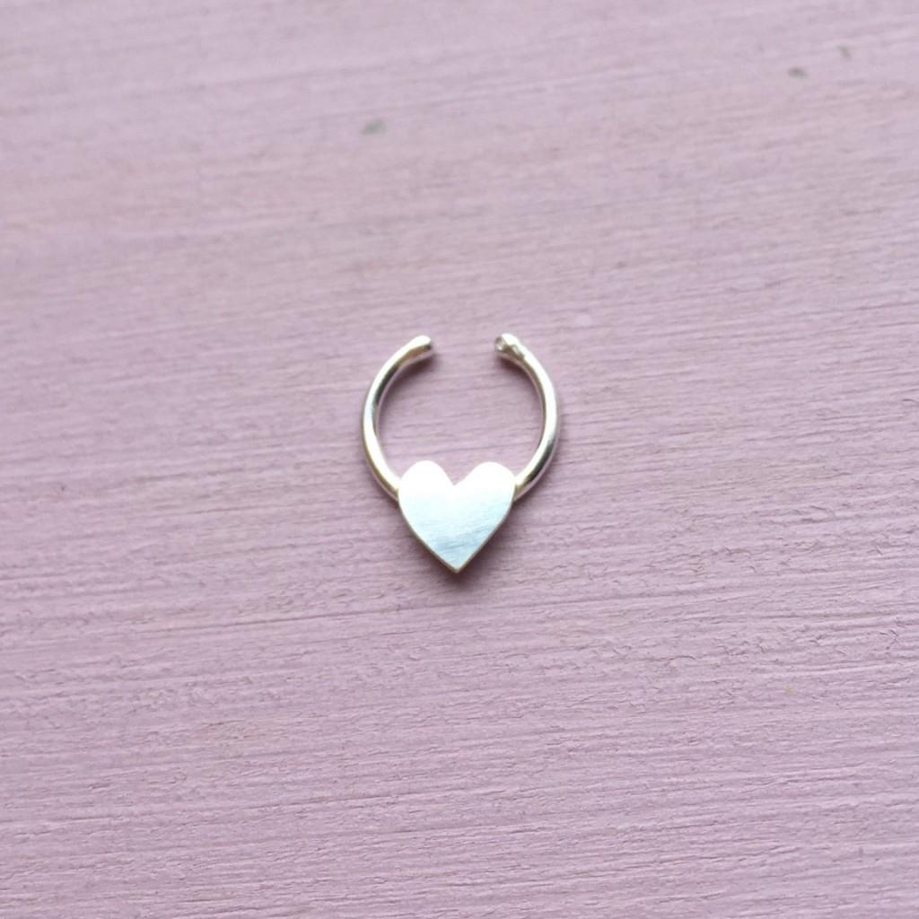 2 Fake Love Heart Septum Ring