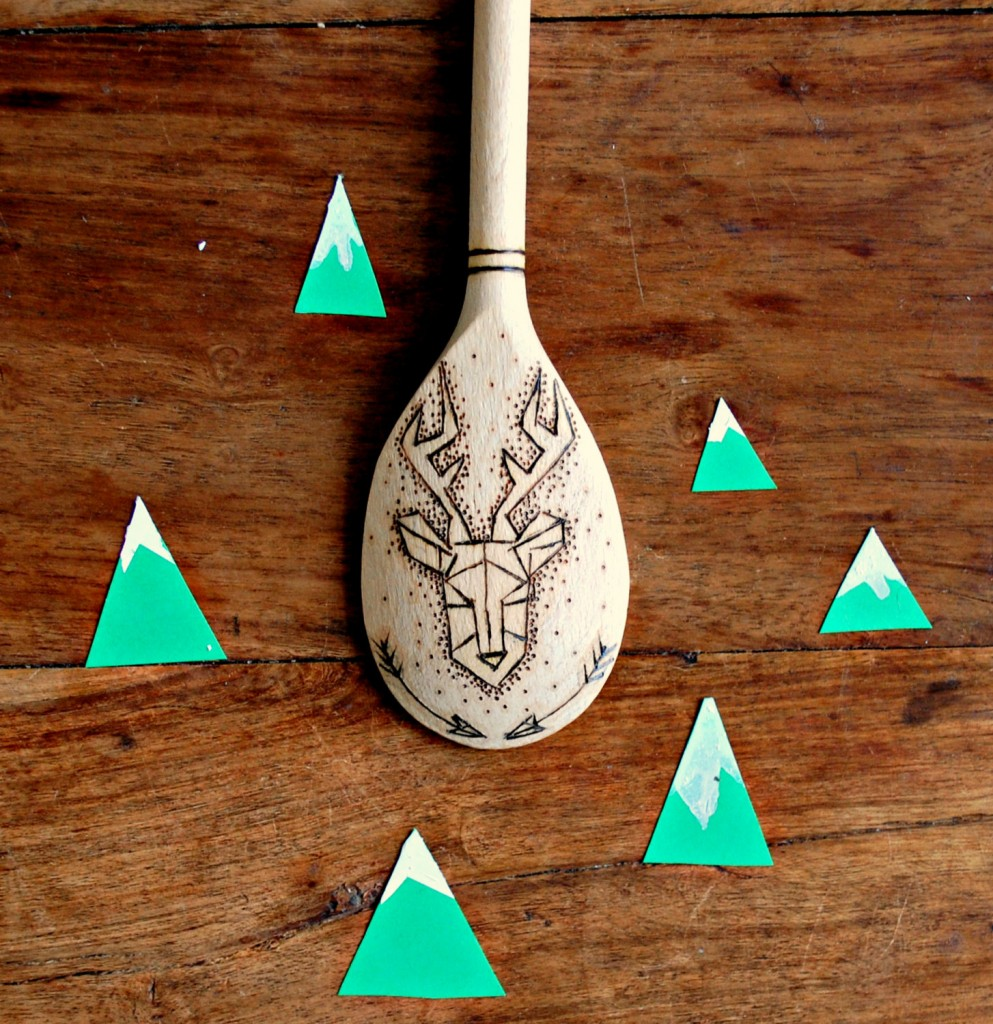 2 Stag Head Wooden Spoon