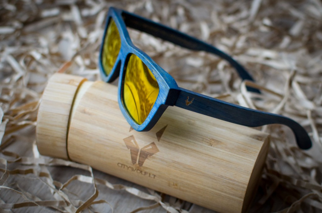 4 blue bamboo sunglasses with yellow lenses