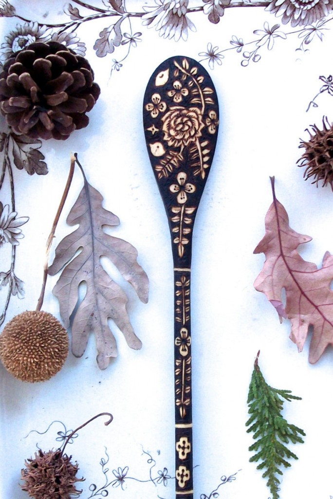 4 custom 10 inch wooden flower bird fern spoon