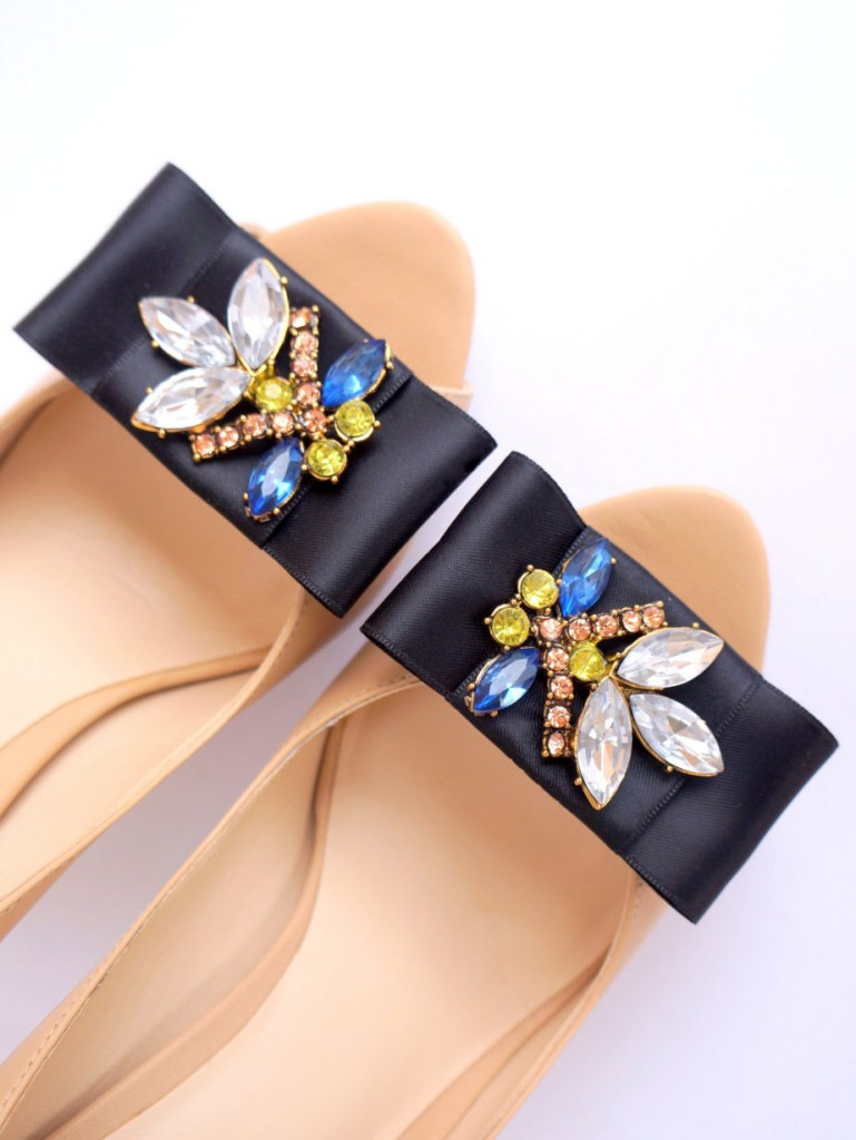 4 elegant black bows with rhinestones shoe clips Mififi