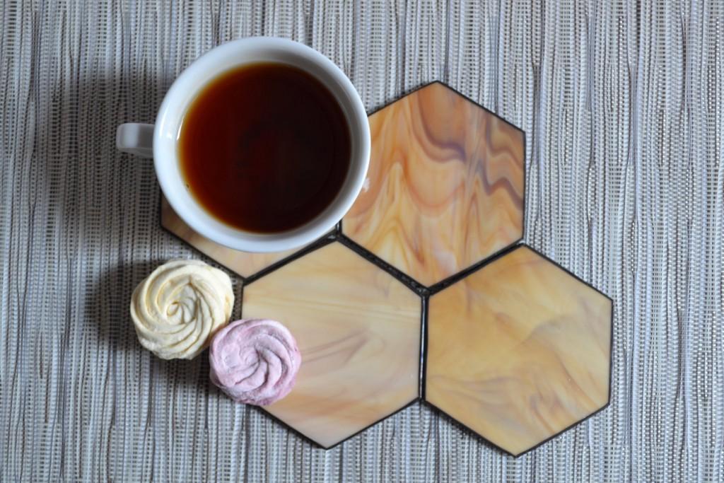2 Wood brown Hexagon Coaster Set of 4
