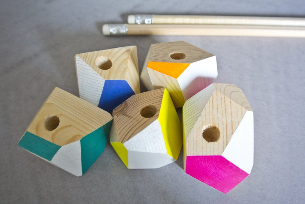 3 Wooden pen holder cut and decorated by hand small version