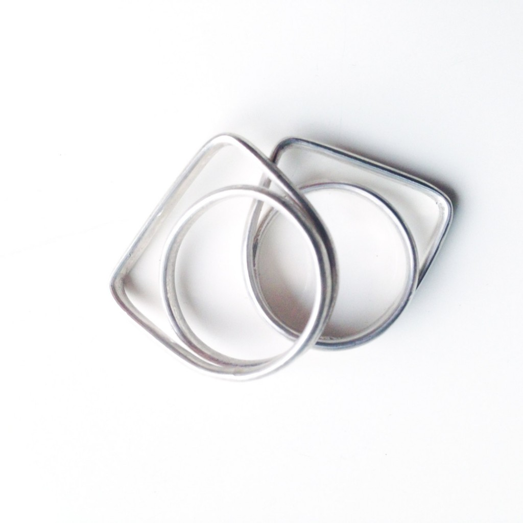 4 Geometrical Silver Ring