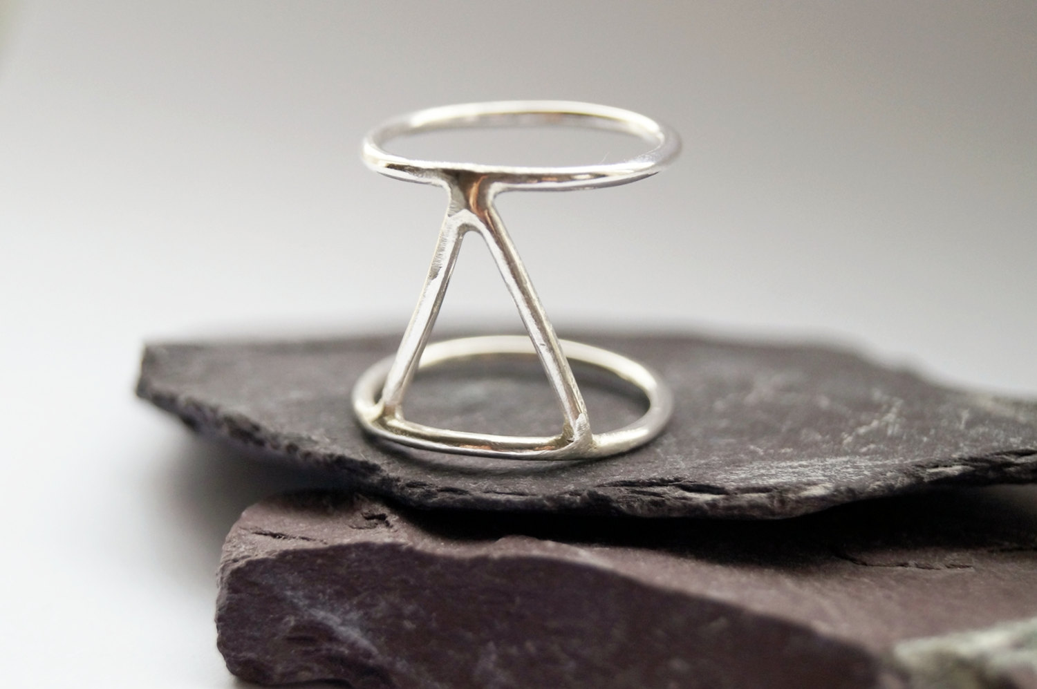 5 Three Points Cage Sterling Silver Ring