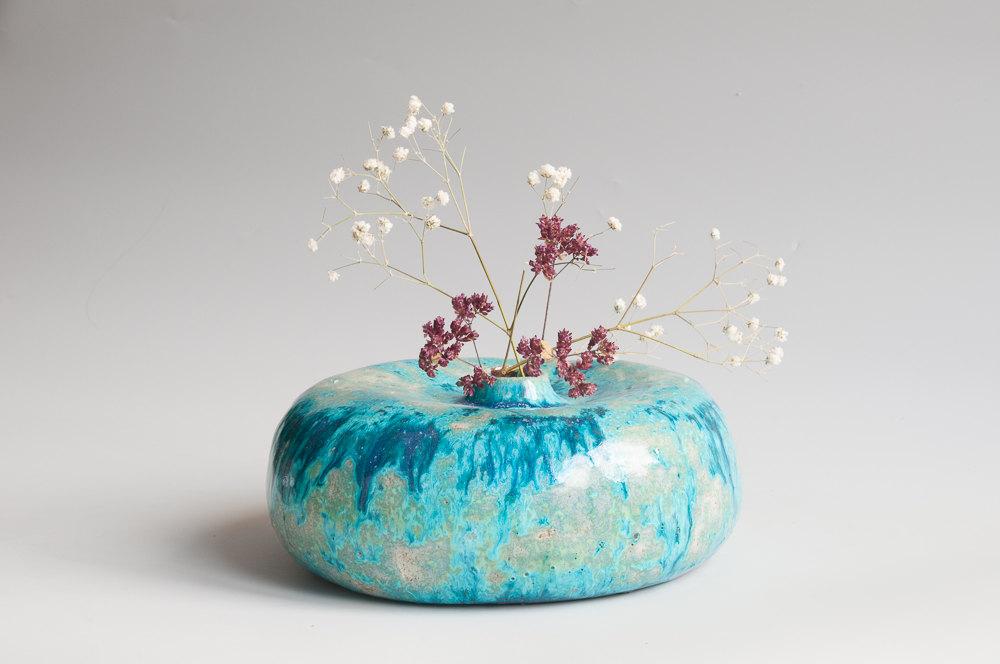 5 ceramic indigo vase
