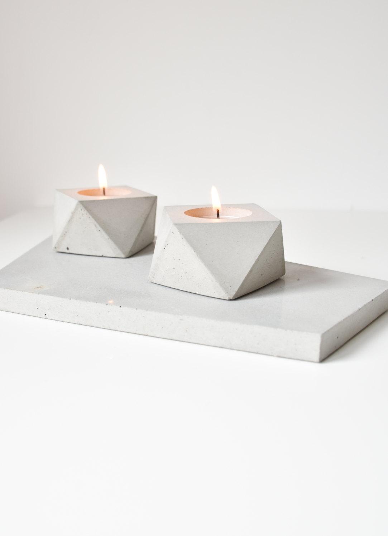Set of Two Gold Detail Handmade Concrete Tea Lights