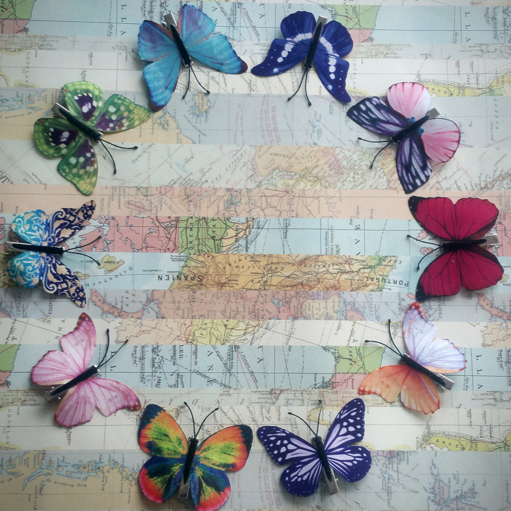4 Butterfly hair clips