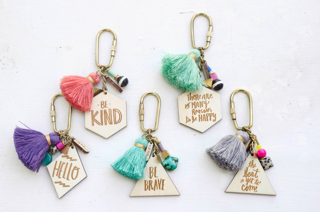 2 Quote and tassel Keychains