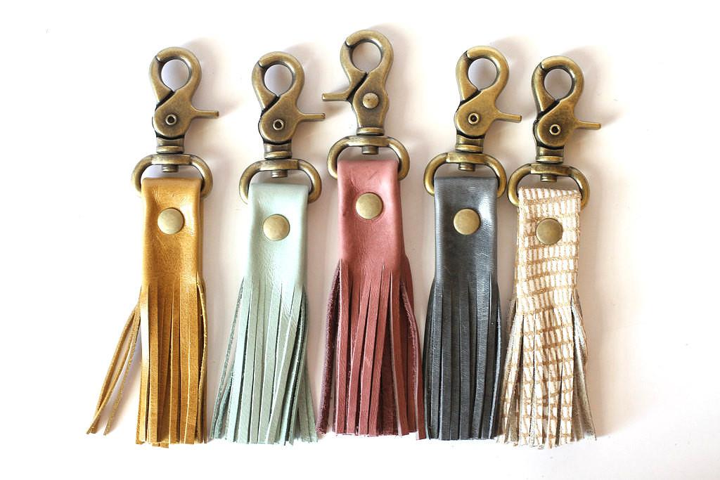 4 Leather Tassel Keychain